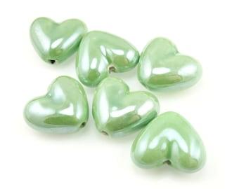 Light Green Heart Beads 20mm x 18mm Ceramic Beads Heart Shaped Pottery Beads Light Green Beads Boho Bohemian Valentine's Day Beads Jewelry