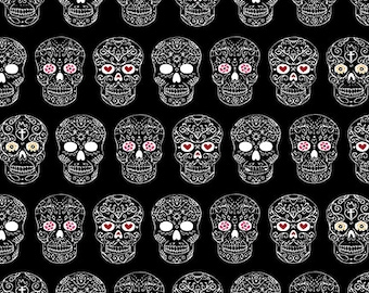 Sugar Skulls Black Rebellion Quilting Treasures Fabric 1 yard