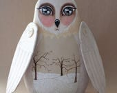 Handpainted One of a Kind Winter Folk Art Owl in White Cream - Whimsical Woodland Soft Sculpture Doll with Sparkly Snow Bare Trees