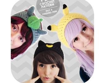 crochet pattern - 3 headband pattern pack - sailor moon luna artemis totoro pikachu pokemon - ear warmer - cosplay halloween costume crochet