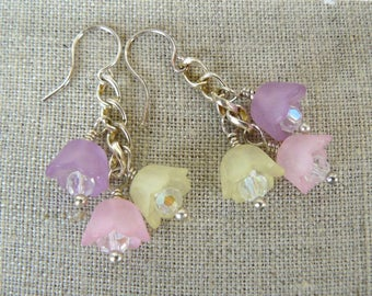 Pastel Flower Earrings, Pink, Lavender, Yellow Flower Dangles, Colorful Floral Jewelry, Gift for Her, Spring Tulips