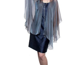 Steel Blue Sheer Silk Cardigan Cape OLIVIA