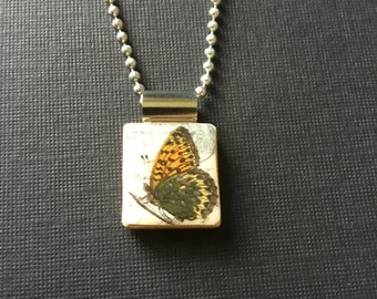 butterfly necklace, handmade butterfly jewelry, butterfly pendant, handmade jewelry, recycled scrabble tile jewelry, butterfly gift, chain
