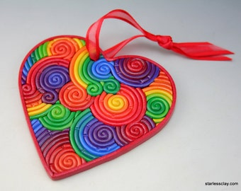 Valentine Heart Ornament in Rainbow Fimo Filigree Polymer Clay Valentine's Day Gift
