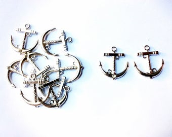 set of 5 pieces anchor charm, 28mm x 32mm, silver metal alloy - C99