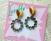 One-off! Kelly green and gold mini rhinestone hoop earrings handmade 50s style by Luxulite