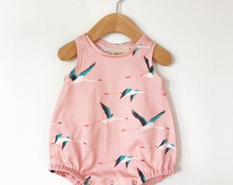 Baby romper // Organic baby playsuit // baby bodysuit in flamingo print // baby girl romper // organic baby clothing // baby girl clothes