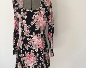 Vintage FLORAL SKATER Dress • 1990s Clothing •Long Sleeve Young Edwardian Flounce Skirt Mini Dress Small Medium 4 6 8 Grunge Navy Blue