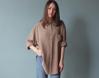 silk long sleeve blouse | taupe oversized top | 90s small - large