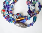 Vintage Chunky Glass Bead Necklace - Predominantly Blue Glass with Colourful Millefiore and Ethnic Beads
