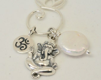 Ganesh Necklace, Ganesh Jewelry, Lotus Charm Holder Necklace, Yoga Jewelry, Om Necklace, Hindi Jewelry, Yoga Necklace, Gift for Yogi, Silver