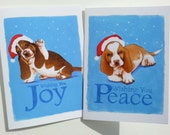 Holiday Basset Pups Wishing You Joy and Peace Ten Cards Two Designs Sweet Gift Keep one of each for yourself