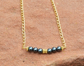 Hematite Necklace, Gold Chain Necklace, Gold Chain Link Hematite Bead Bar Necklace, Gold Curb Chain Necklace with Hematite Bead Bar Design