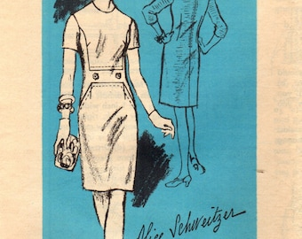 1960s Mail Order A863 Vintage Sewing Pattern Misses Sheath, Slim Dress, Designer Dress Size 16 Bust 36