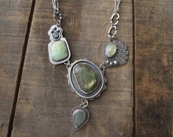 Labradorite, chrysoprase, prehnite, aquamarine, leaf handmade chain necklace by teresamatheson