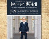 lds baptism invitation, modern baptism invitation, printable baptism announcement - modern boy baptism announcement - printable baptism