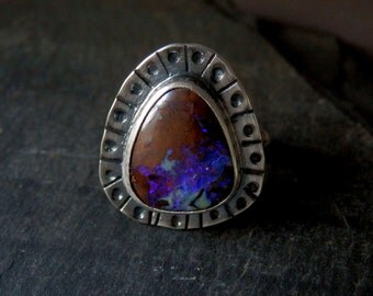 Australian boulder opal ring / opal ring / October birthstone / boulder opal jewelry /  boho opal jewelry / ready to ship / size 6