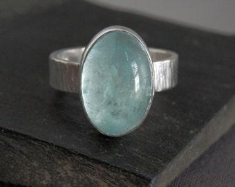 Aquamarine ring / March birthstone jewelry / translucent aquamarine / aquamarine jewelry / blue gemstone jewelry / size 8 / ready to ship