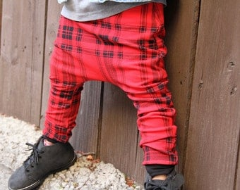 BLOWOUT SALE! Baby Boy Baby Girl Red and Black Plaid Harem Pants: Etsy kid's, toddler fashion, Plaid harems, plaid joggers, baby harem pant