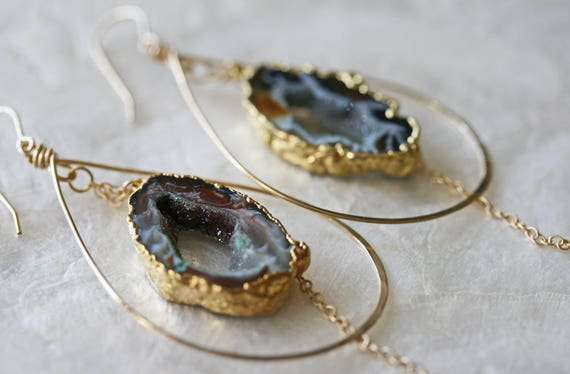 Druzy Earrings, Geode Earrings, Hoop Earrings,  Hammered Hoop Earrings, Occo Agate Earrings, Gold Dipped Earrings, Tear Drop Hoop Earrings