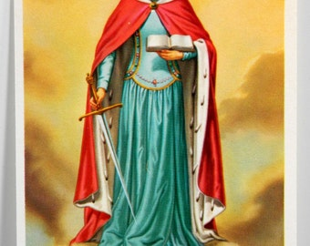 St Dymphna Strengthen Us Vintage Holy Card with Prayer in Her Honor Franciscan 18264