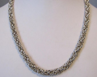 """17.5"""" Handmade Sterling Necklace, Byzantine Silver Chain"""