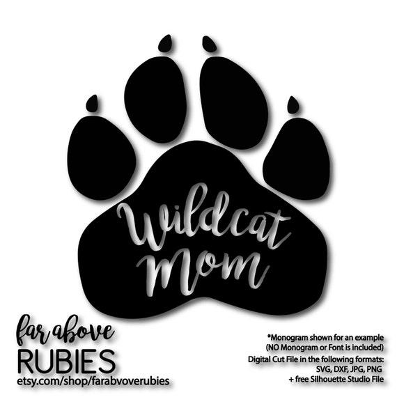 Wildcat Mom Paw Print School Pride Team Mascot Svg Dxf