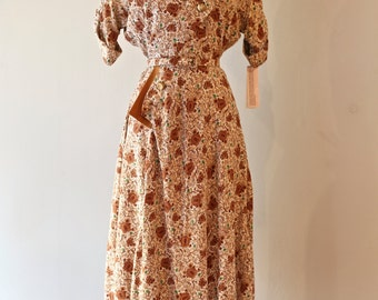 Vintage 1940s Rayon Novelty Print Dress By Schank Sportswear Waist 28 ~ Vintage 40's Rayon Dress