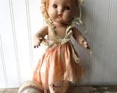 "Shabby Vintage Horsman JoJo doll composition jointed baby toddler doll tin eyes  12"" Super shabby dress"