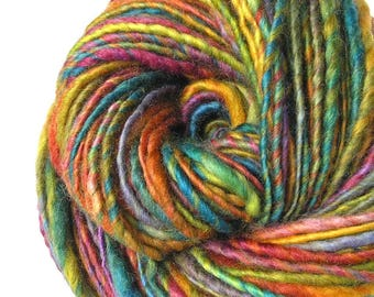 Handspun Yarn Hand Dyed Yarn BFL Wool Art Yarn Single Ply DK to Bulky Weight Art Yarn 142 yards Super Soft Handmade in USA - Mosaic Path