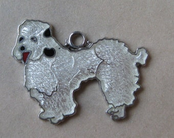 Poodle Dog Puppy Charm Sterling White Enamel Cloisonné Vintage 925 Silver