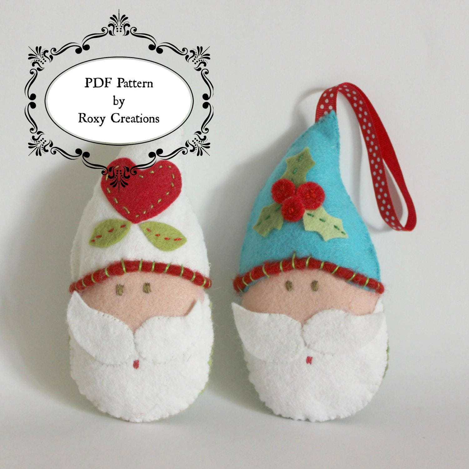 Wool felt ornaments - Pdf Sewing Pattern For Felt Santa Claus Ornaments Instant Download Make As A Gift For Gift