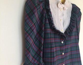 Cute 70s Urban Cowgirl Plaid Shirt   1970s Ascot Bow Blouse