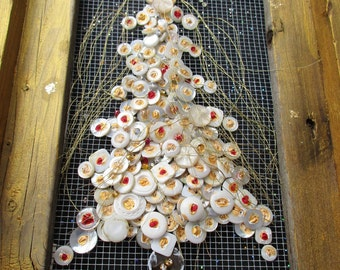 White Button Tree in Barn Wood Frame