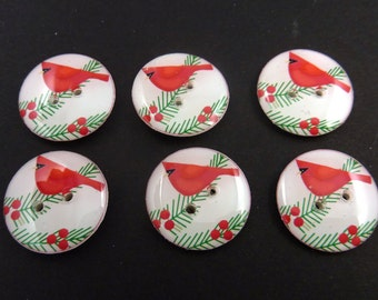 "6 Bright Red  Cardinal Christmas  Buttons. Sew on Embellishment.  Left Facing.  3/4"" or 20 mm. Handmade by Me. Washer and Dryer Safe."