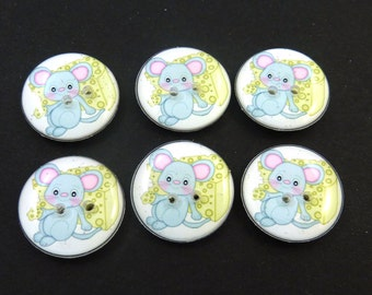 """6 Mouse Buttons for Sewing.  Mouse and Cheese Buttons.  Handmade By Me Mouse Buttons for Crafts.  3/4"""" or 20 mm. Washer and Dryer Safe."""
