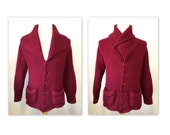 Vintage 30s Mens Cardigan Sweater with Shawl Collar by Dundurn in a burgundy wool S