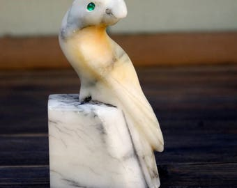 Carved Marble Bird, Parrot Love Bird Italy Bookend Paper Weight