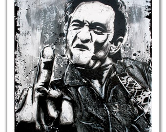 """12 x 18"""" - Johnny Cash black and white art print - Johnny Cash black and white poster - Johnny Cash flipping off camera - the man in black"""