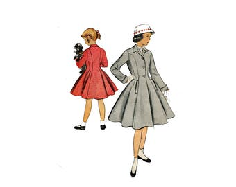 1950s Girls Coat Pattern Fit and Flare Coat Princess Seam Notched Collar McCalls 9693 Size 4 Vintage Sewing Pattern