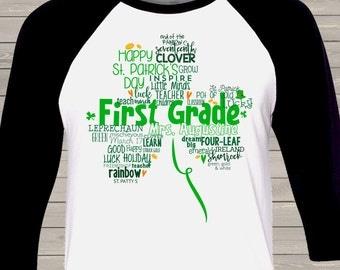 St. Patrick's Day shamrock teacher name grade personalized raglan shirt for teachers SPDTSR