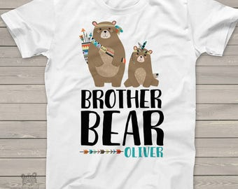 Big brother bear t-shirt - bear brother pregnancy announcement MSS-002