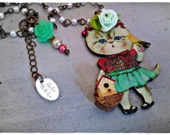 My FaiR KiTtY irresistible kitty cat necklace collection/ MoDeL #6 by WiLd PeArLy~*