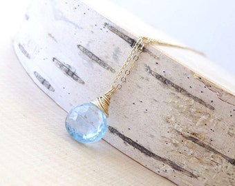 Aquamarine necklace, March birthstone necklace, sky blue gemstone solitaire, bridesmaid gift, something blue jewelry, weddings, Otis B, etsy