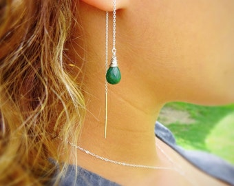 Custom gemstone Threader earrings, stering silver, minimal emerald earrings, wire wrapped, Otis B, natural stone, crystals, May birthstone