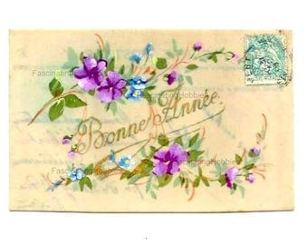 Vintage CELLULOID Postcard - HANDPAINTED FLOWERS  - Early French Watercolour fresh colorful postcard - Holiday 's greetings - Free Shipping