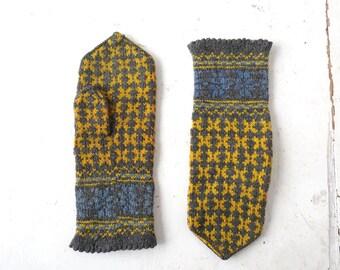 Vintage Scandinavian Mittens | Wool Mittens | Norwegian Mittens | Size L