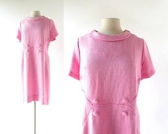 Vintage 1960s Dress | Pink Linen Dress | 60s Dress | Large L