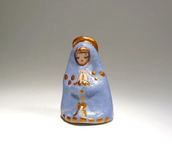 Lady Mary Madonna Miniature Blue and Gold Ceramic Tiny Queen of Heaven