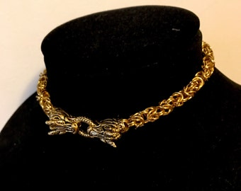 "In Stock-Dragon's Hoard, 12""-Viking chainmaille dragon torc torq choker gold silver claw goth medieval renaissance GOT khalessi"